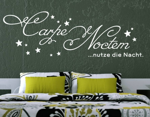 wandtattoo wandaufkleber wandwort carpe noctem nutze die nacht von. Black Bedroom Furniture Sets. Home Design Ideas
